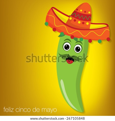 Chilli pepper cartoon character card in vector format. - stock vector
