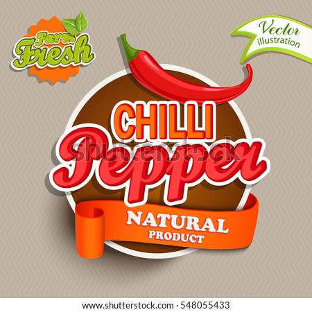 Chilli pepper logo lettering typography food label or sticker concept for farmers market organic