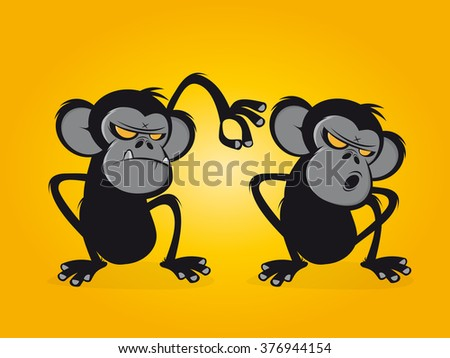 chimp delouses his friend - stock vector