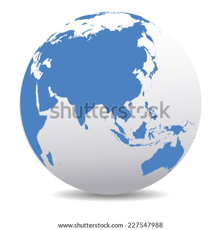 China and Asia, Global World - Elements of this image furnished by NASA base map is Hand Drawn using the pen tool with a tablet pen for maximum detail - stock vector
