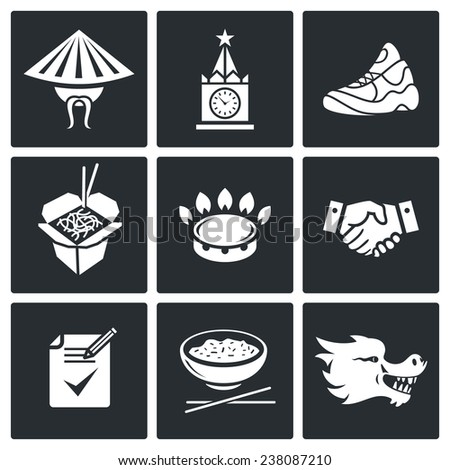 China and Russia Vector Icons Set - stock vector