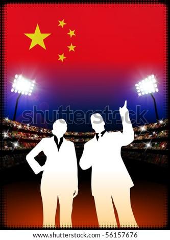 China Business Couple on Stadium Background Original Illustration - stock vector