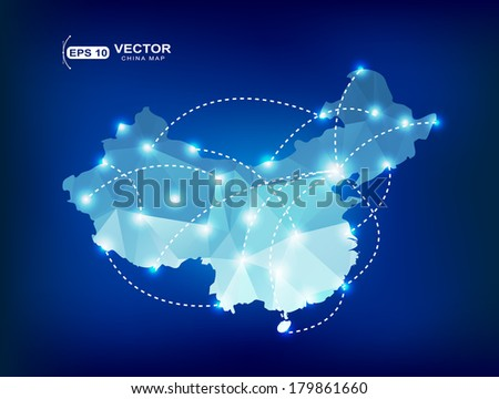 China country map polygonal with spot lights places - stock vector