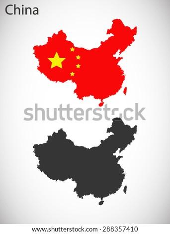 China flag-design map - stock vector