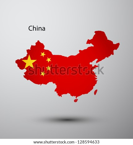 China flag on map of country