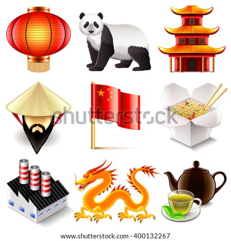 China icons detailed photo realistic vector set