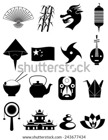 China icons set - stock vector