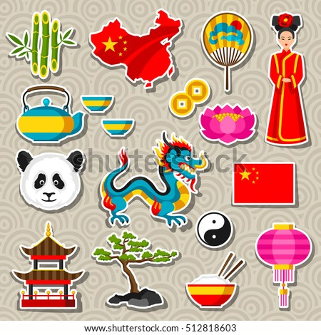 China icons set. Chinese sticker symbols and objects.
