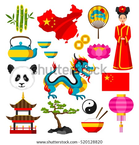 China icons set. Chinese symbols and objects.