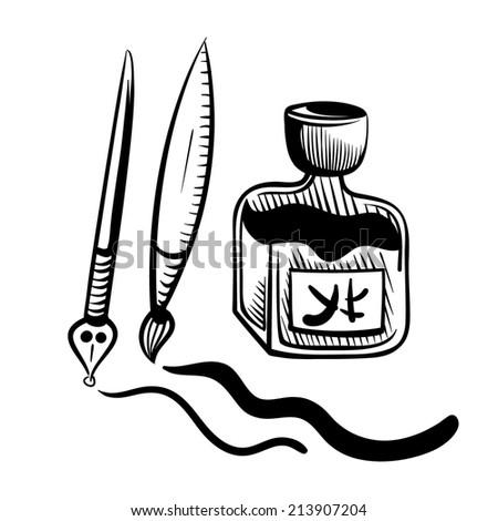 China ink sketch - stock vector