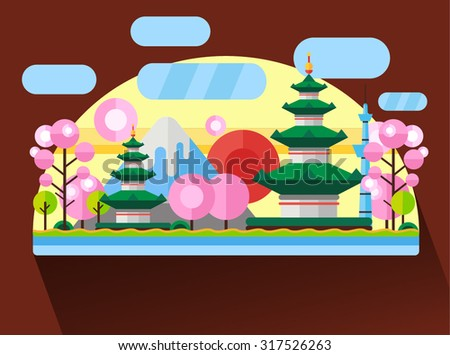 China, Japan. Colorful flat landscape with mountains, trees, pagoda, sakura, river, sky, red sun. National symbols. Asia