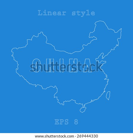 China map,bound with letters. Linear style,contour,stroke. Vector illustration EPS8 - stock vector