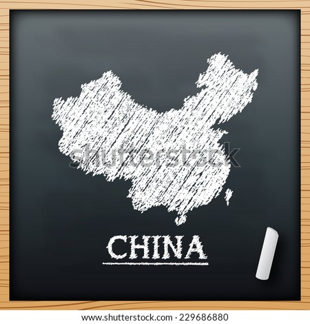 China map chalkboard design effect in vector format - stock vector
