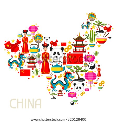 China Map Design Chinese Symbols Objects Stock Photo Photo Vector