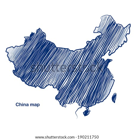 China map hand drawn background vector,illustration - stock vector
