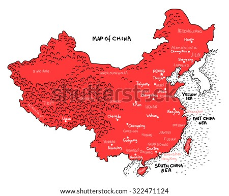China map marker style illustration map - stock vector