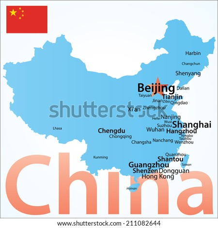 China - map of China. Carefully scaled text by city population, geographically correct. - stock vector