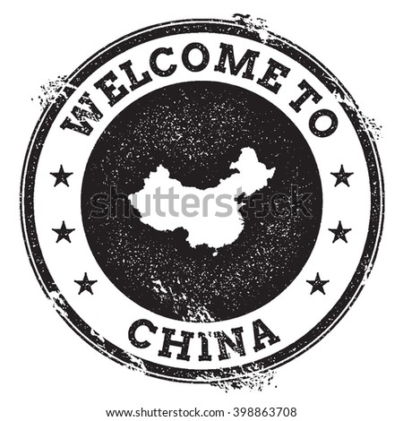 China map stamp. Vintage passport welcome stamp with China map. Grunge rubber stamp with Welcome to China text. Vector illustration. - stock vector