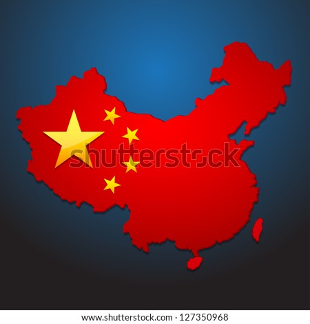 D Map China Us Flag Stock Vector Shutterstock - China map in us flag