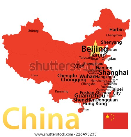 China Map Largest Cities Carefully Scaled Stock Vector - Us map scaled to population