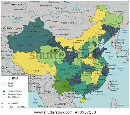 Asia highly detailed political map elements vectores en stock china map with selectable territories vector illustration gumiabroncs Gallery