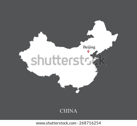China map with the capital location and name, Beijing, for webpage template or construction - stock vector