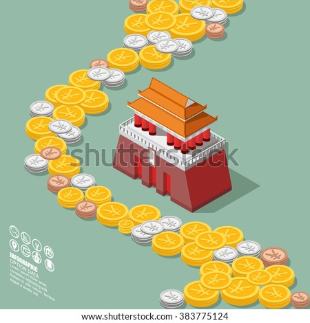 China Money Yuan Coin With Tiananmen Square Isometric Diagram Vector Design - stock vector