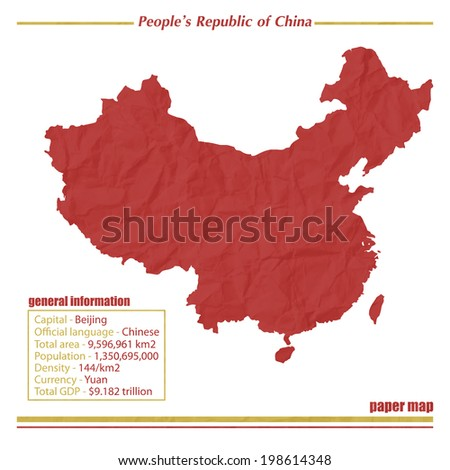 China paper map with general information isolated on white background  - stock vector
