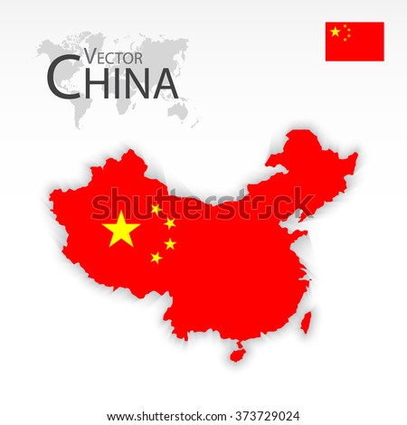 China ( People 's Republic of China ) ( map and flag ) ( Transportation and tourism concept )