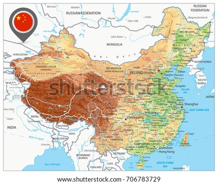 China physical map high detailed china vector de stock706783729 china physical map high detailed china relief map with labeling gumiabroncs Choice Image