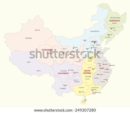 china regions map - stock vector