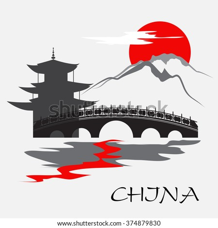 China temple and monastery with bridge - stock vector