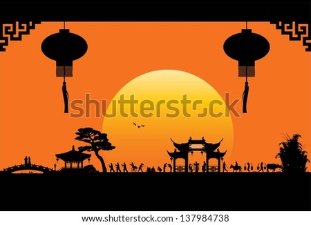 China town, vector - stock vector