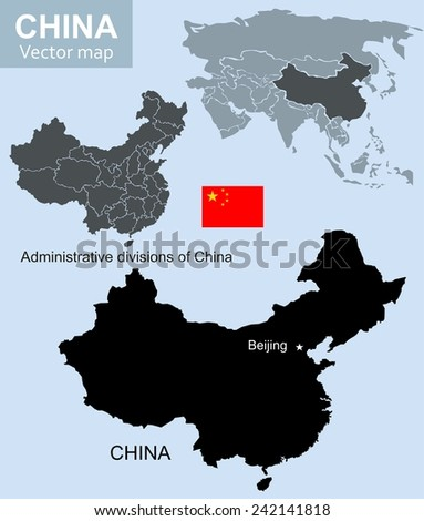 China vector map - stock vector