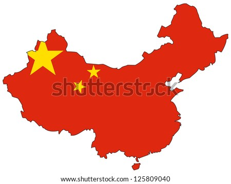 China vector map with the flag inside. - stock vector