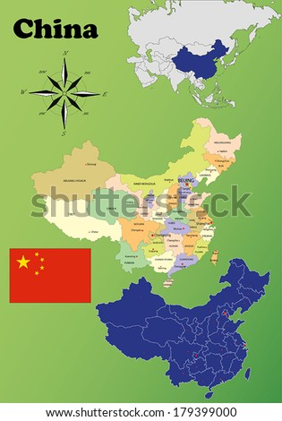 China vector set. Isolated - stock vector