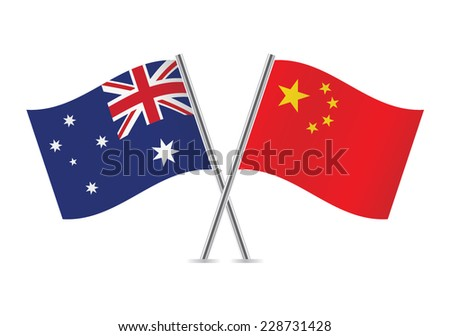 Chinese and Australian flags. Vector illustration. - stock vector