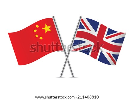 Chinese and British flags. Vector illustration. - stock vector