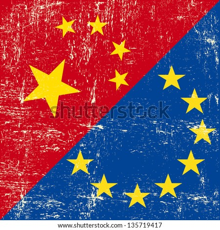 Chinese and european grunge Flag. this flag represents the relationship  between european union and China