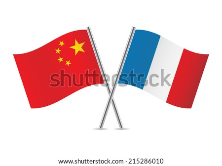 Chinese and French flags. Vector illustration. - stock vector