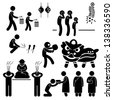 Chinese Asian China Religion Culture Tradition Stick Figure Pictogram Icon - stock photo