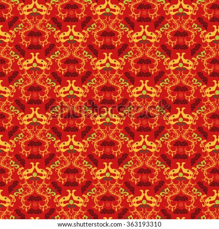 Chinese asian dragon style seamless pattern background. Traditional vector ornament - stock vector