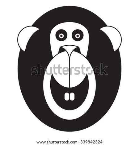 Chinese Astrology - Animal Sign of 2016: Monkey. Vector monkey face isolated on white background.