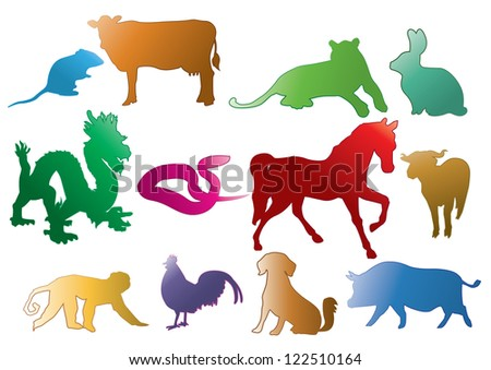 Chinese Astrology Modern Style - stock vector