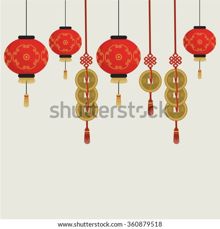 Chinese background. Chinese traditional lanterns and coins. Vector illustration - stock vector