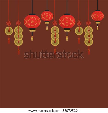 Chinese background with chinese lanterns and coins. Chinese New Year. Asia. Vector illustration - stock vector