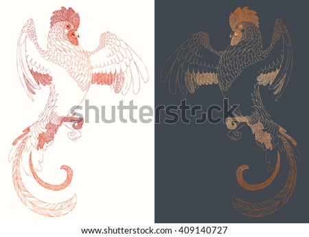 Chinese calendar for year of rooster 2017. Cock - Symbol of New Year 2017. Hand drawn vector illustration. Decorative ornament.