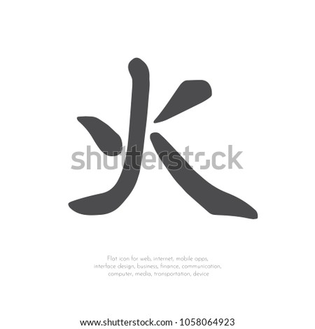 Chinese Character Fire Stock Vector Royalty Free 1058064923