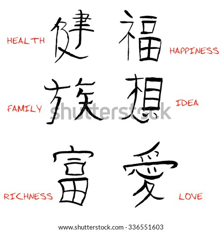 Chinese Characters Translation Vector Illustration Stock Vector