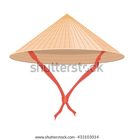 Chinese conical straw hat vector illustration isolated on a white background